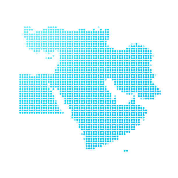 Middle East map of blue dots on white background vector art illustration