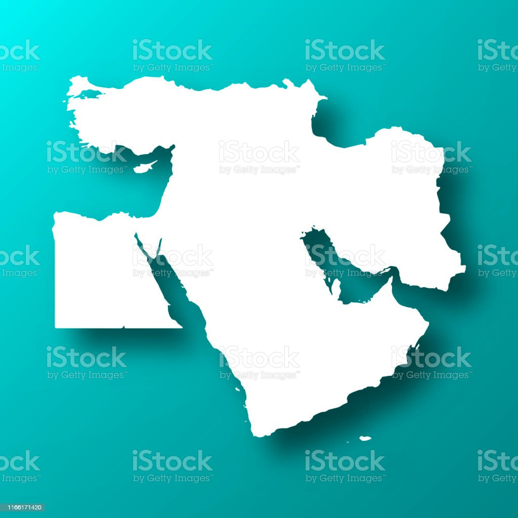 Middle East Map On Blue Green Background With Shadow Stock