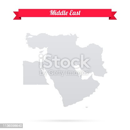 istock Middle East map on white background with red banner 1136598640