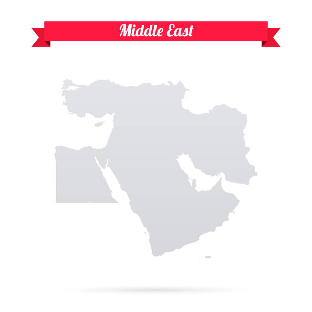 Middle East map on white background with red banner Map of Middle East isolated on a blank background and with his name on a red ribbon. Vector Illustration (EPS10, well layered and grouped). Easy to edit, manipulate, resize or colorize. Please do not hesitate to contact me if you have any questions, or need to customise the illustration. http://www.istockphoto.com/portfolio/bgblue middle east stock illustrations