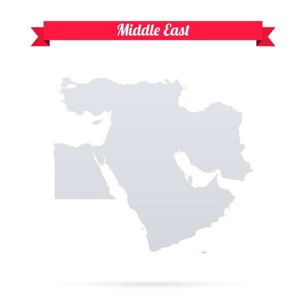 illustrazioni stock, clip art, cartoni animati e icone di tendenza di middle east map on white background with red banner - medio oriente
