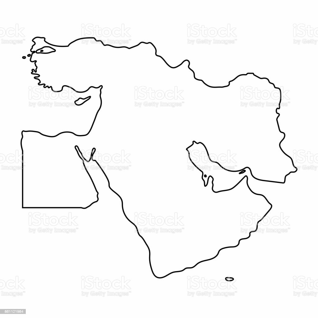 Middle East Map Outline Graphic Freehand Drawing On White Background Vector Illustration Stock Illustration Download Image Now Istock