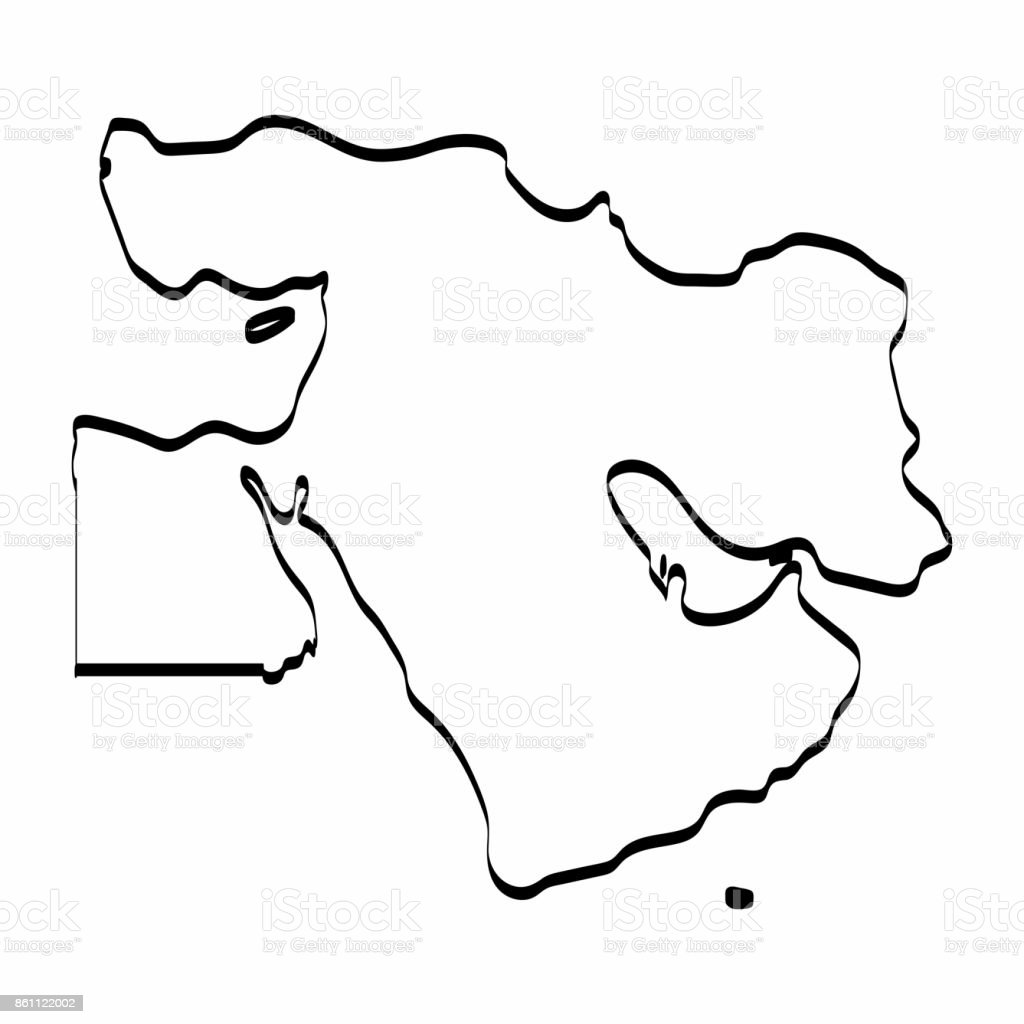Middle East map outline graphic freehand drawing on white background. Vector illustration. vector art illustration