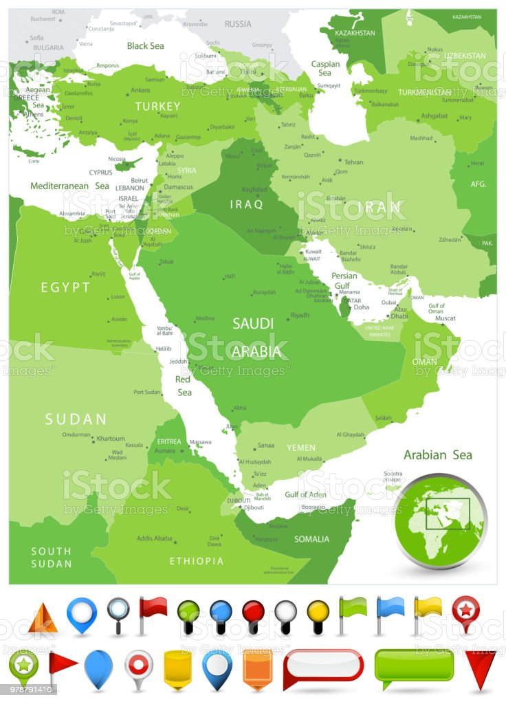 Map Of Asia Middle East.Middle East Map Spot Green Colors And Glossy Icons Stock Vector Art