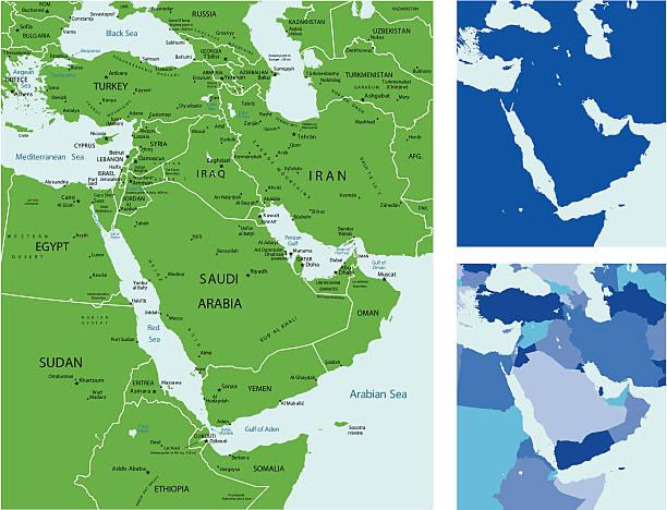 Middle east map vector art illustration