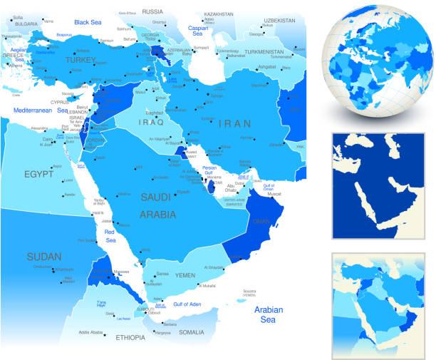 中東マップ、ブルーの世界の国では、 - 中東の地図点のイラスト素材/クリップアート素材/マンガ素材/アイコン素材