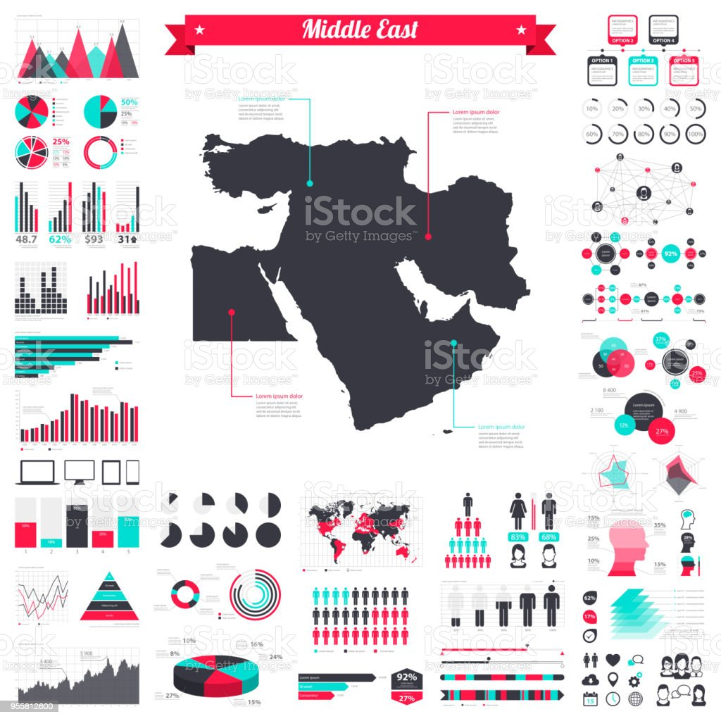 Middle East Map.Middle East Map With Infographic Elements Big Creative Graphic Set