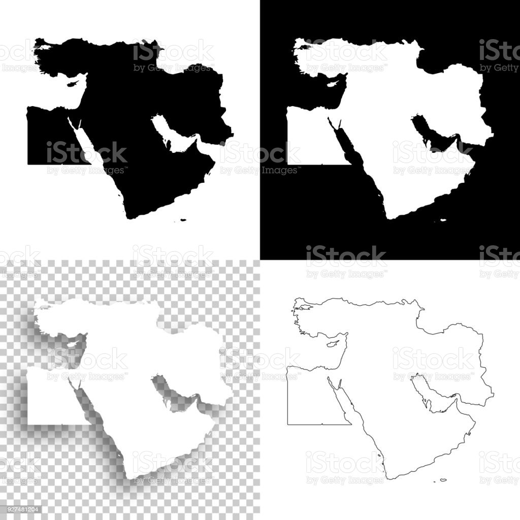 Picture of: Middle East Maps For Design Blank White And Black Backgrounds Stock Illustration Download Image Now Istock