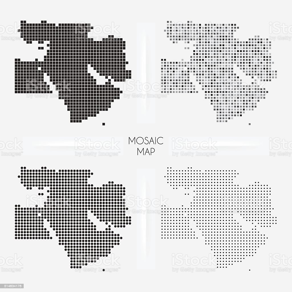 Middle East maps - Mosaic squarred and dotted vector art illustration