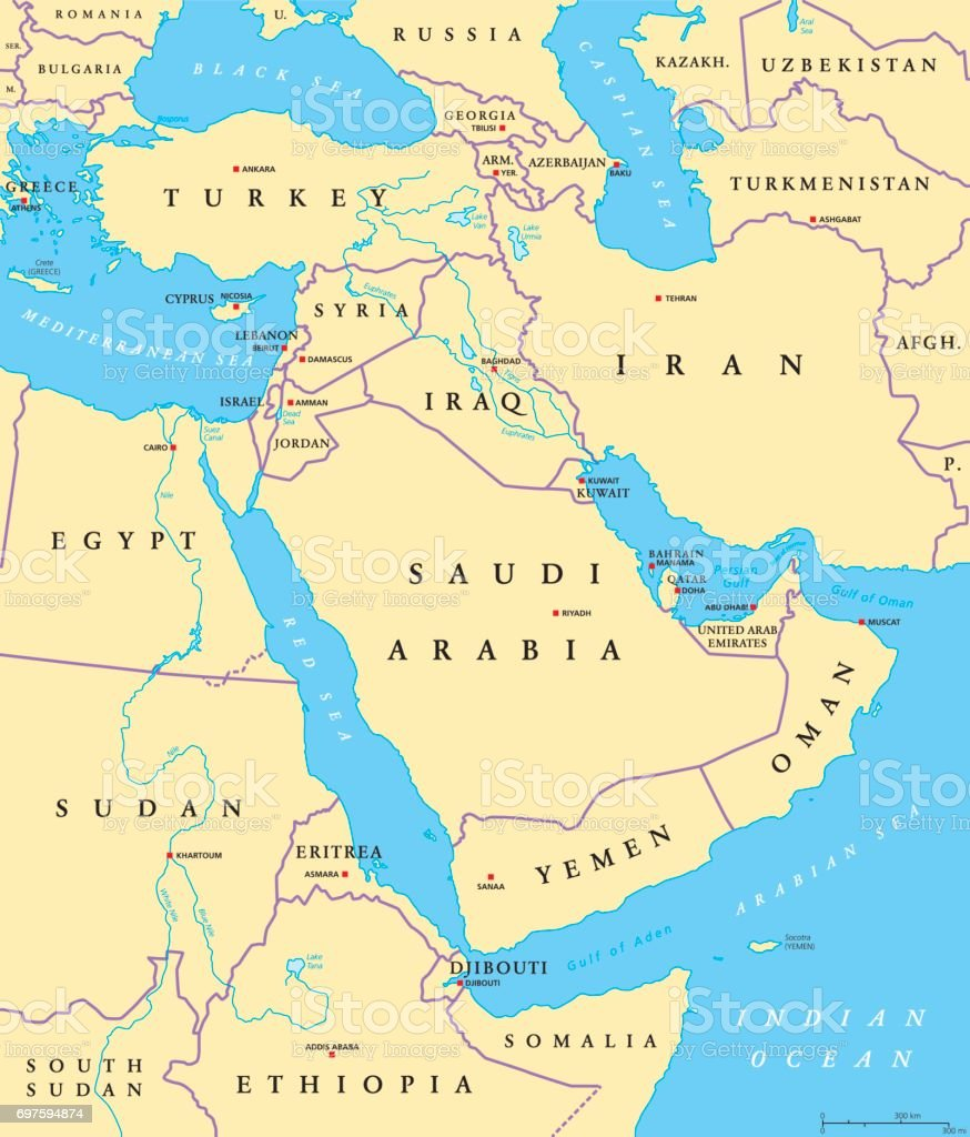 Middle East political map vector art illustration