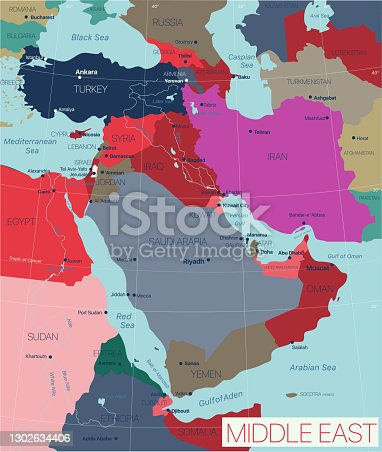 Middle East region detailed editable map