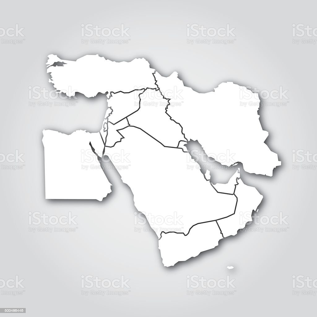 Middle East Silhouette White vector art illustration