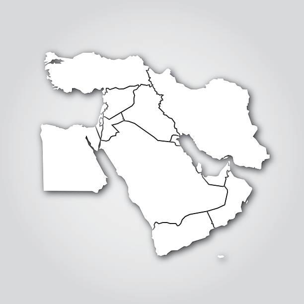 中東シルエットホワイト - 中東の地図点のイラスト素材/クリップアート素材/マンガ素材/アイコン素材