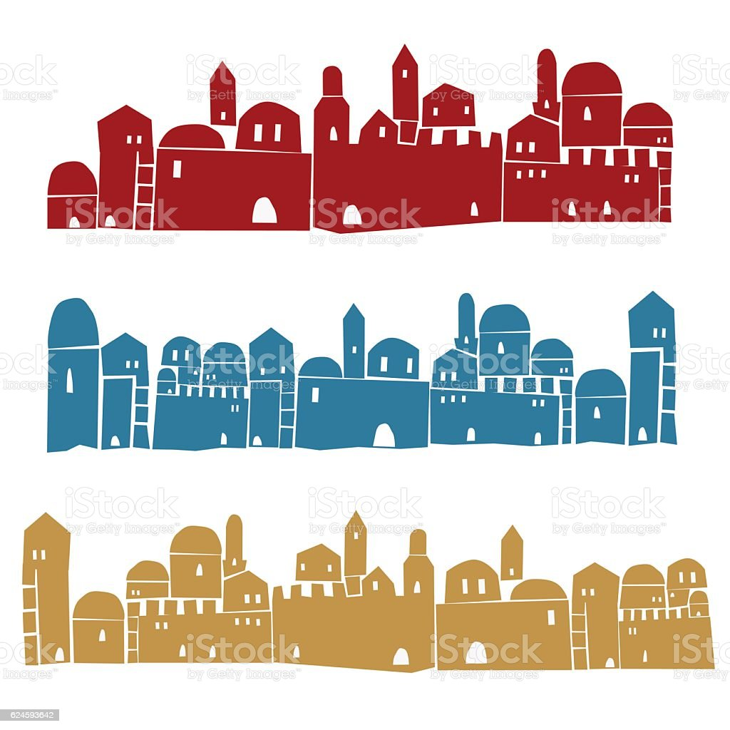 Middle East Town, Holy City, Vector illustration vector art illustration