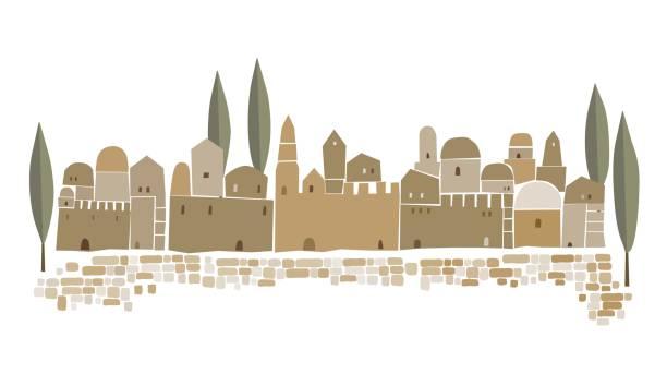 stockillustraties, clipart, cartoons en iconen met midden-oosten stad, heilige stad, vectorillustratie - oude stad