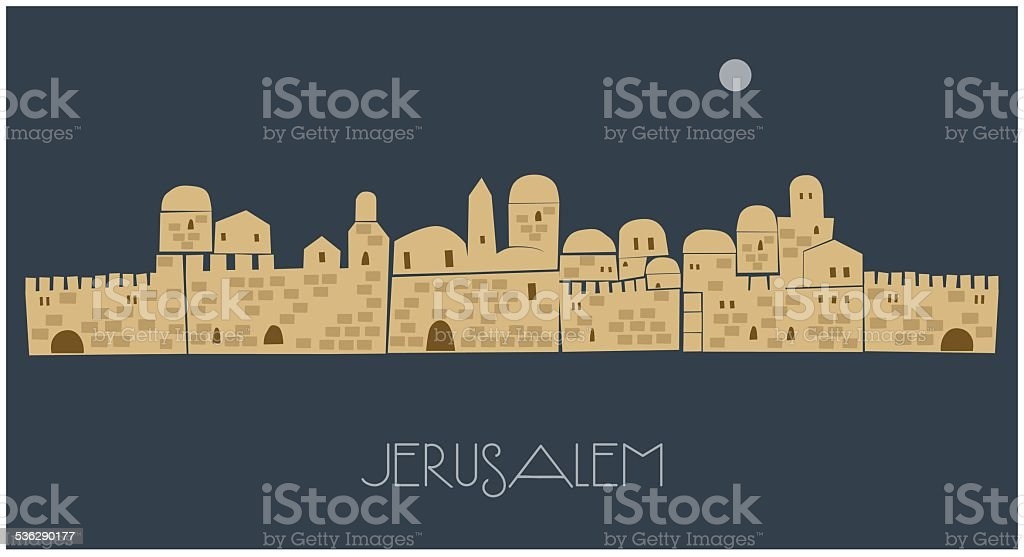 Middle East Town, Jerusalem vector art illustration