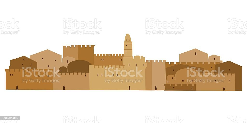 Middle East Town vector art illustration