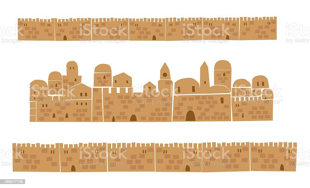 Middle East Town, Wall, vector art illustration