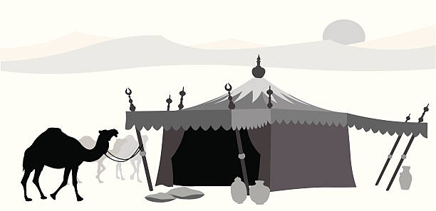 middle east vector silhouette - bedouin tent stock illustrations, clip art, cartoons, & icons