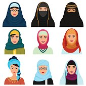 Middle Eastern female avatars set. Arabian muslim woman traditional hijab face collection