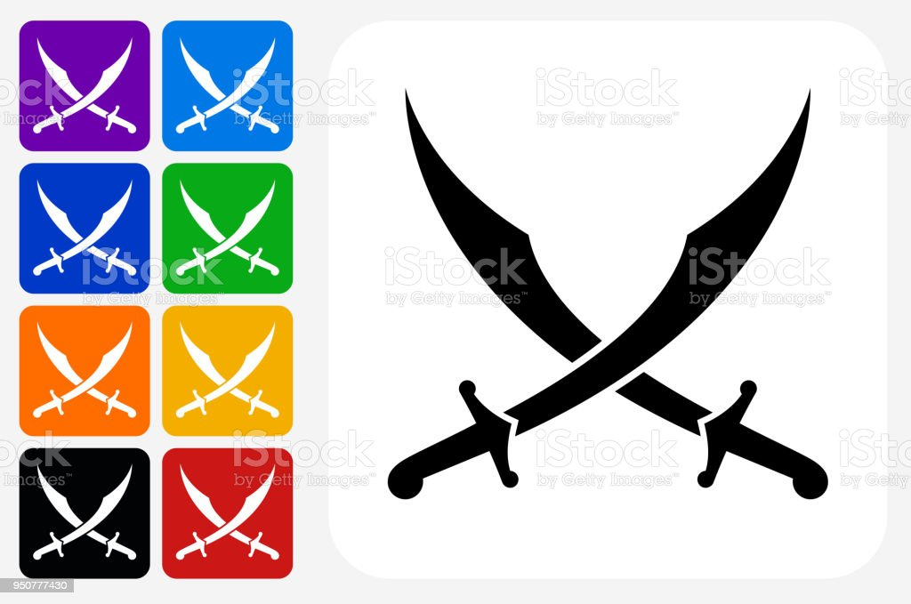 Middle Eastern Swords Icon Square Button Set Stock Vector Art More