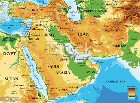 istock Middle East-physical map 613907618