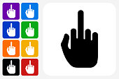 Middle Finger Hand Icon Square Button Set