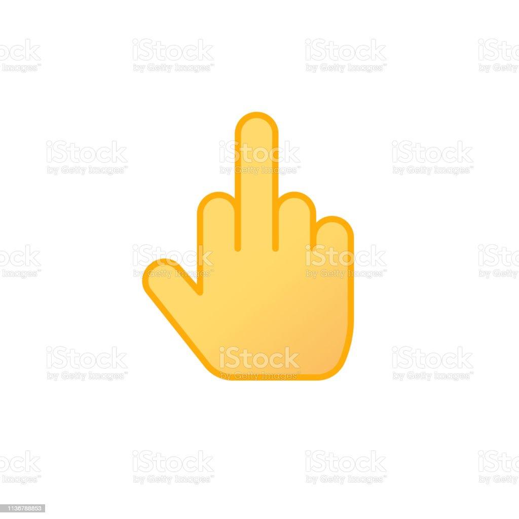 Mittelfinger Icon-Vektor, Linie Umriss Kunst mittleren Daumen beleidigende Geste Emoji isolierte Clipart – Vektorgrafik