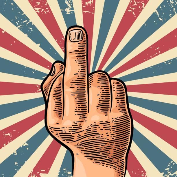 ilustraciones, imágenes clip art, dibujos animados e iconos de stock de signo de dedo medio de mano hombre - middle finger