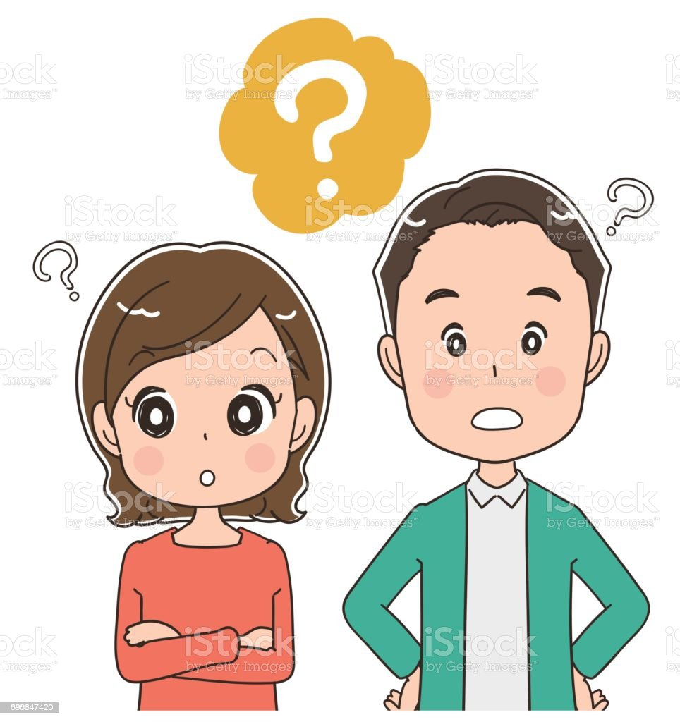Middle-aged couple are asking questions vector art illustration