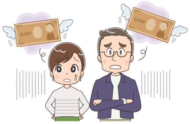 ilustrações de stock, clip art, desenhos animados e ícones de a middle-aged couple is confused about money - bills couple