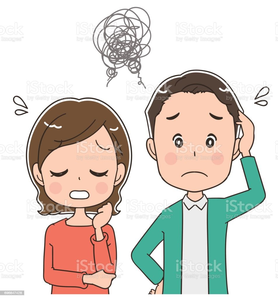 A middle-aged couple is in trouble vector art illustration