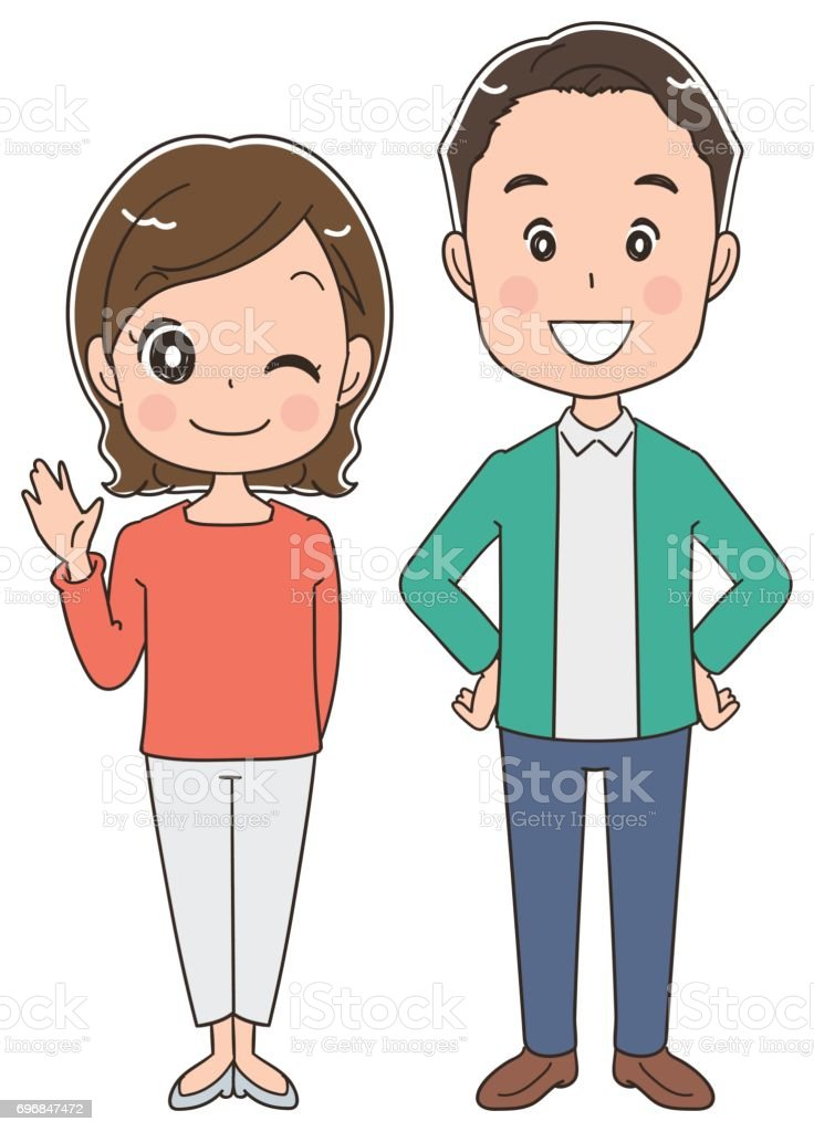 Middle-aged couple's portraits vector art illustration