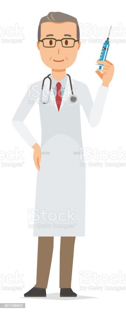 白いスーツを着て中年男性医師が注射器 1人のベクターアート素材や画像