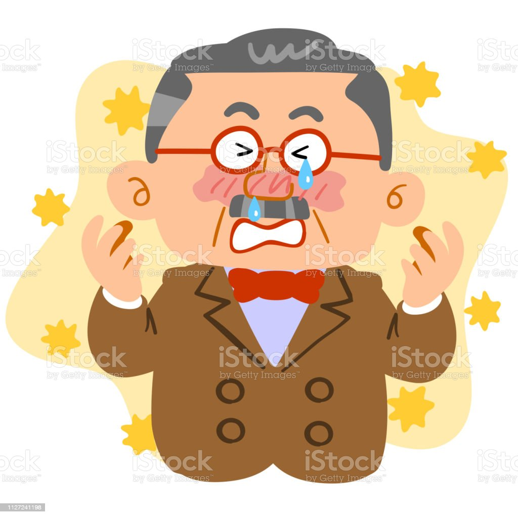 Middle-aged man HNWI who suffers from hay fever