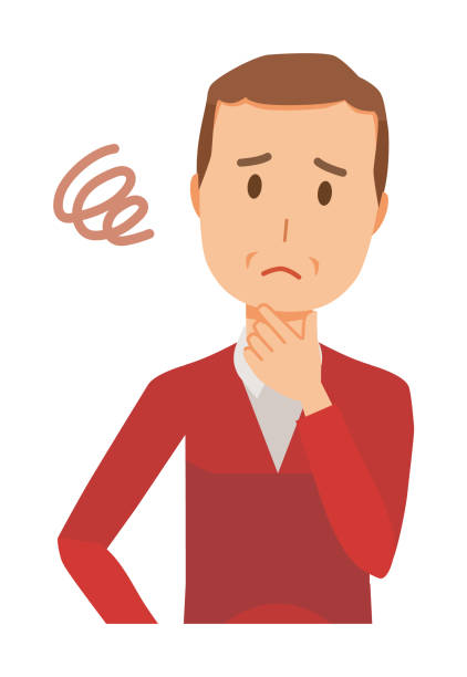 A middle-aged man wearing a sweater is in trouble vector art illustration