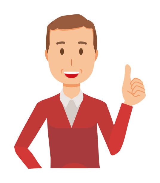 a middle-aged man wearing a sweater is showing thumbs up - old man showing thumbs up cartoons stock illustrations, clip art, cartoons, & icons