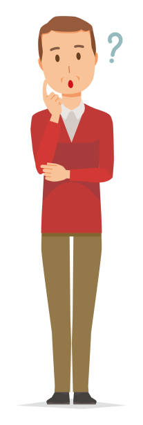 A middle-aged man wearing a sweater is thinking vector art illustration