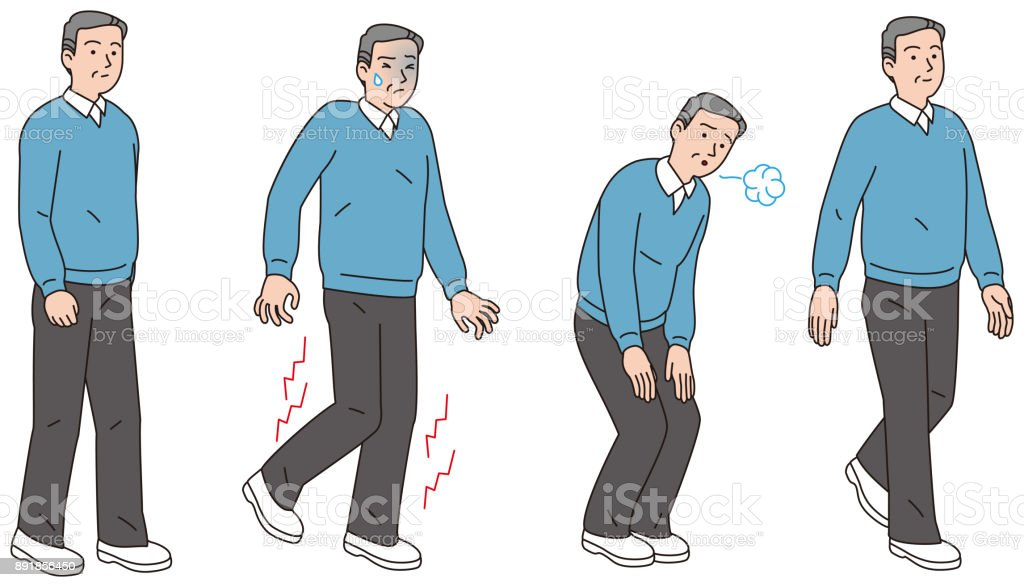 Middle-aged men who ran my pain in their legs while walking vector art illustration