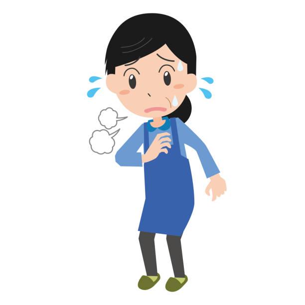 ilustrações de stock, clip art, desenhos animados e ícones de middle-aged woman short of breath - mão no peito