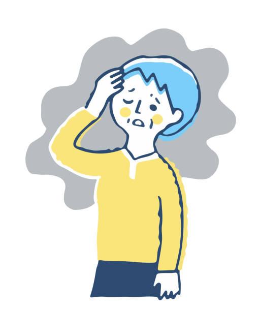 bildbanksillustrationer, clip art samt tecknat material och ikoner med medelålders kvinna som lider av huvudvärk - mature woman fever on white