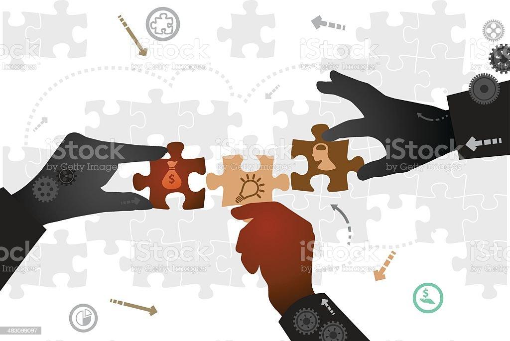 Middle-man vector art illustration