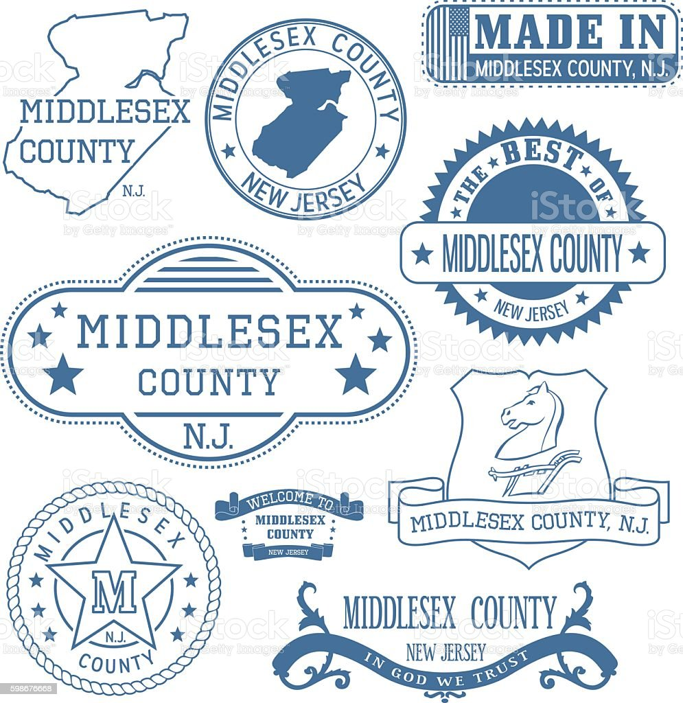 Middlesex county, NJ, generic stamps and signs vector art illustration