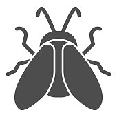 istock Midge solid icon, Insects concept, Fly sign on white background, Midge icon in glyph style for mobile concept and web design. Vector graphics. 1254974008
