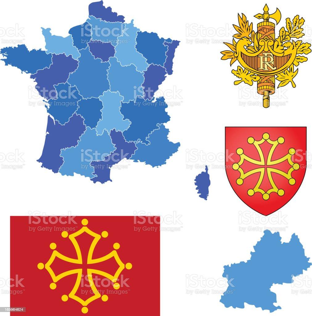 Midi-Pyrenees region set royalty-free stock vector art
