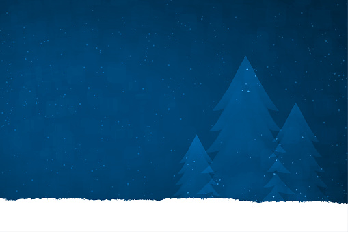 A midnight blue coloured creative merry christmas and New Year festive vector design, with three Xmas coniferous trees in a row in glittery snow