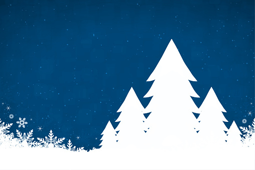 A midnight blue coloured creative merry christmas and New Year festive vector design, with five white Xmas coniferous trees in a row in glittery snow