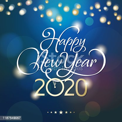 Countdown to 2020 with sparkling clock of 2020, calligraphy and lights on blue background