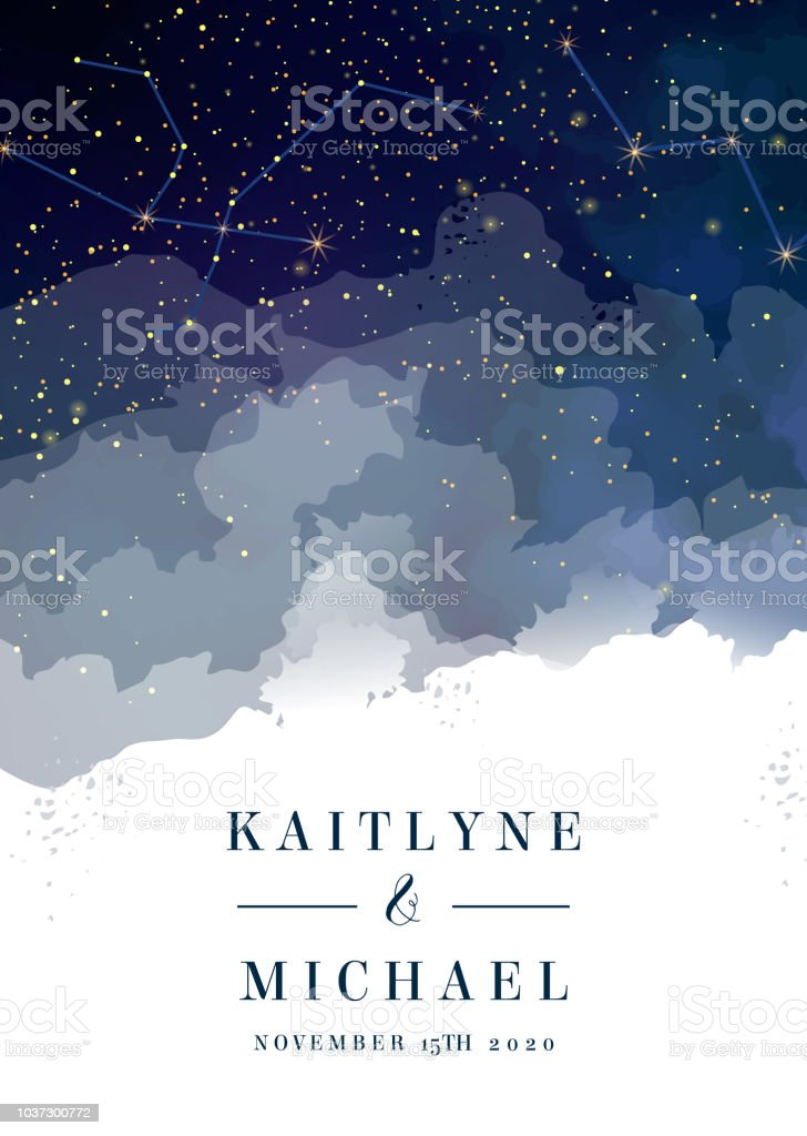 Midnight milky way. Watercolor painting card. royalty-free midnight milky way watercolor painting card stock illustration - download image now