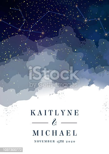 Magic night dark blue sky with sparkling stars vector wedding invitation. Andromeda galaxy. Gold glitter powder splash background. Golden scattered dust. Midnight milky way. Watercolor painting card.